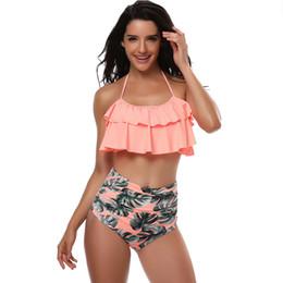 Wholesale L Child Bikini - Swimwear Women Children Lotus Leaf Bikinis Set Sexy Push Up Swimsuit High Waist Bathing Suit RF0793