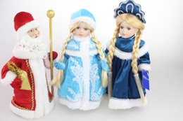 Wholesale christmas decoration santa claus dolls - 30CM Russian Lifelike Reborn Baby Doll Girl Christmas Gift Home Decoration Santa Claus Snow Princess Action Figures Toys Gifts