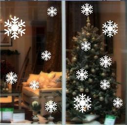autocollants congelés Promotion 14 pcs / lot DIY Flocon De Neige Stickers Muraux Joyeux Noël Bonne Année Blanc Neige Frozen Decal Vinyle Art Fenêtre Stickers Muraux D063B