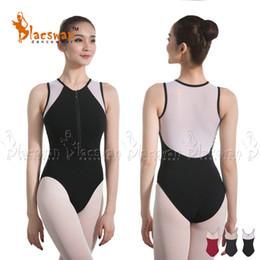 730f6f9e498 Two Tone Mesh Leotards Zipper Front Closure Girls Sleeveless Lace Ballet  Leotards for Women Adult Dance Uniforms Bodysuit BL832