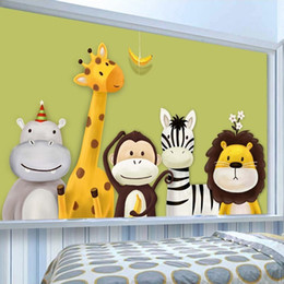 Wholesale back roll painting - Custom Mural Wallpaper Children's Room Bedroom Cartoon Theme Animals Painted Background Pictures Wall Decor Kids Wallpaper Roll