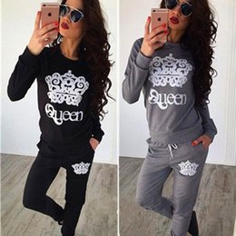 Wholesale Queen Piece - Women Winter Two Pieces Set Queen Crown Printed Tracksuits Long Sleeve Bodycon Jumpsuit Jogging Suit