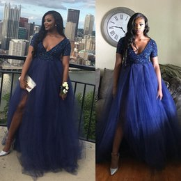 Wholesale Top Dress For Pregnant - Puffy Plus Size Navy Tulle Long Pregnant Evening Dress Sequin Top Short Sleeve Deep V-Neck Prom Dresses For Maternity Women Formal Gowns