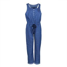 Frauen Damen Solide Blau Farbe Mode-Design Sleeveless Beiläufige Overall Hosen Bodys Vest Playsuits von Fabrikanten