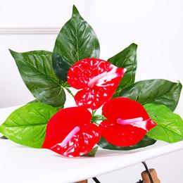 plantas em vasos artificiais atacado Desconto 1 bando flor artificial pequeno vaso de planta de seda terno falso grande vaso de antúrio toque de buquê de escritório diy decoração bonsai atacado