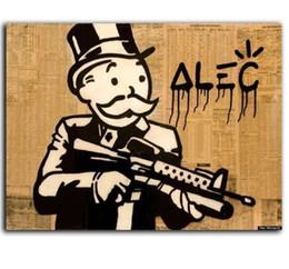 Cañones de pared online-Alec Monopoly Pintura al óleo sobre lienzo Graffiti Wall Art Decoración para el hogar Pistola pintada a mano de alta calidad Hombre Multi tamaños g128