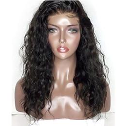 Peluca rizada negra sintetica online-Top Suave 180% de densidad Pelucas rizadas rizadas negras con pelo de bebé Fibra resistente al calor del calor del pelo sintético Pelucas delanteras del cordón para las mujeres Línea natural