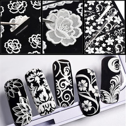 Тисненые листы онлайн-Nail decals 1 Sheet Metal Embossed 3D Nail Art Stickers Blooming Flower Decals Tips Decoration DIY nagel stickers 0927