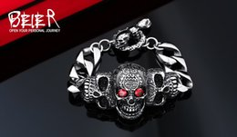 Wholesale green stone prices - BEIER 316lStainless steelCool Men's Steel High Quality Red Eye Stone Biker Man Skull charms Bracelet Chain Factory Price BC8-021