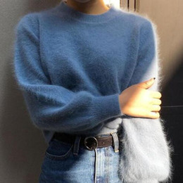 9abeb3978281e9 2019 women turtleneck mohair sweater Frauen blau rosa Pullover Mode Herbst  Winter Warm Mohair Rollkragenpullover Langarm