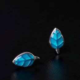 Wholesale blue enamel flower earrings - hot sell designer earrings jewelry fashion 925 sterling silver earring Enamel natural Blue leaves female china direct wholesale stud bijoux