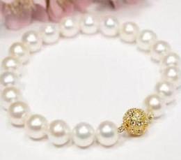 2019 bracelet en or blanc 8-9mm Round South Seas White Pearl Bracelet 7.5-8inch fermoir en or 14k