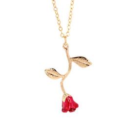 Bijoux rose délicat en Ligne-ZTUNG VAN1 Délicat Rose Collier Pendentifs Fleur Meilleurs Amis Vintage Charme Mignon Femmes Bijoux Collier
