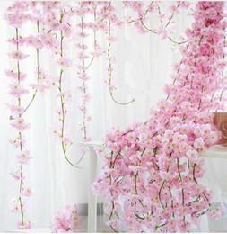 200 centimetri Sakura Cherry Rattan Wedding Arch decorazione Vine fiori artificiali Home party decor Applique da parete in seta edera ghirlanda appesa supplier garland wall da muro di ghirlanda fornitori