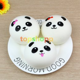 Wholesale cell phone strap bread - Free Shipping Cute 4cm Panda Squishy Kawaii Buns Bread Charms Bag Key Cell Phone Straps Pair Random Soft Panda Squishy Bread Semll