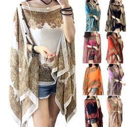 Wholesale Flower Shawls - Fashion Summer Chffion Women Blouses Beach Shirts Shawl Flower Scarf Female Tops With Pearl Buttons Shape A Variety Of Shapes