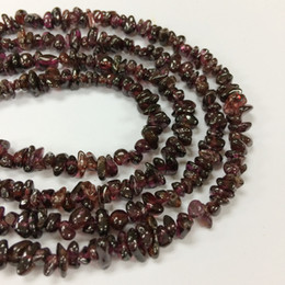 """Wholesale Loose Garnet Beads - YesGem Natural Garnet Chips Loose Beads Handmade Necklace For Jewelry Making 15"""" Full Strand"""