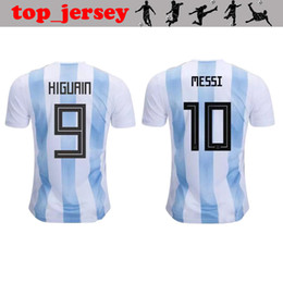Jersey di qualità del messi online-2018 New Argentin coppa del mondo maglia da calcio qualità thai MESSI Home away AGUERO DYBALA DI MARIA HIGUAIN ICARDI maglia da calcio argentin