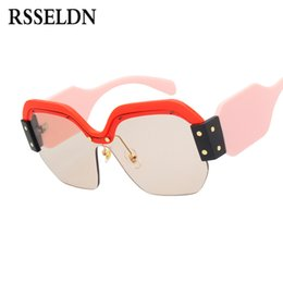 Wholesale Wholesale Half Shaded Sunglasses - RSSELDN Newest Half Frame Sunglasses Women Brand Designer Square Sun glasses Women Fashion Sunglass Men Blue Integrated Shades