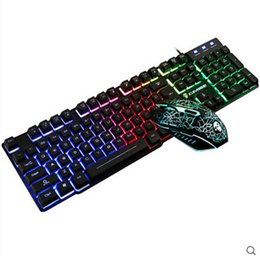 Wholesale Lol Led - Kui Ying T6 LED keyboard and mouse set usb gaming mouse wired keyboard LOL game mechanical feel