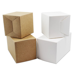 Wholesale Recycled Crafts - 40pcs Lot 5*5*5cm Kraft Paper Small Folding Package Carton Box Jewelry DIY Gifts Paper Packaging Craft Boxes For Birthday Party