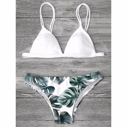 Wholesale Beige Cami - tide Sexy Brazilian Bikini Set Swimwear Women Swimsuit Bathing Suit Cami Palm Leaf Print Biquini Swim Suit Maillot De Bain
