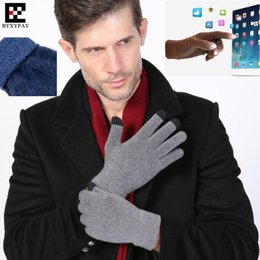 Wholesale Ipad Acrylic - Top Lovers Winter Sporting Warm 3-Finger Touch Screen Gloves for iphone ipad All Smartphone,Woolen Knitted Gloves,Brushed Neri