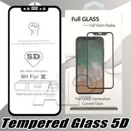 Wholesale quality screen protector - 5D 9H Full Screen For iPhone X 8 7 6 6S Plus Tempered Glass Protector Hardness Anti-Scratch Film Protectors With Package B Quality