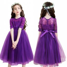 Wholesale Lace Half Sleeve Wedding Dress - 2018 Lovely Purple Short Flower Girl Dresses Princess A Line Half Sleeves with Bow Sash Sheer Kids Birthday First Communion Dress MC1459