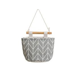 Wholesale pics bags - 1 pic Cotton Linen Sundries Storage Bags Wall Kitchen Bathroom Door WardrobeHanging Organizers Hanging Bag