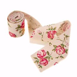 2019 fita de impressão do casamento 3 M Vintage Rose Floral Impressão Hessian Serapilheira Fita Fitas De Tecido Para O Casamento Artesanato Decorações desconto fita de impressão do casamento
