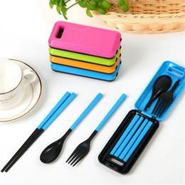 Wholesale Portable Plastic Cutlery Sets - Portable Folding Travel Dinnerware Set Korean Tableware Cutlery Fork Chopsticks Set For Kids Bento Lunch Box Accessories wen5444