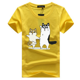 Wholesale Yellow Top Cartoon - Men Casual Summer T shirt Mens Cartoon Animal Printed T shirts Men Crew Neck Short Sleeved Top Clothing