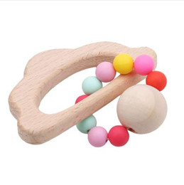 Wholesale wooden shaped beads - 1 Pcs Baby Animal Shaped Baby Teether Nursing Wooden Baby Silicone Beads Stroller Toys Classic Infant Rattles Mobiles