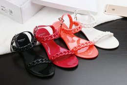 Wholesale sandals plastic shoes - Europe and the United States new plastic chain beach shoes candy color jelly sandals chain flat bottomed out sandals Size 35-40