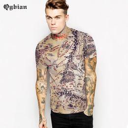 Wholesale map o - Qybian Asia Size Retro Map T Shirts Men Loose casual breathable TShirt O Neck Man shirt Camiseta Tops