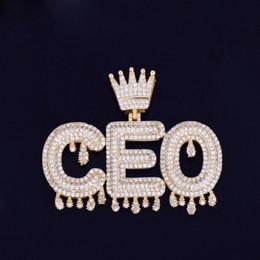 Nome personalizado de Prata de Ouro Rosegold Crown Bail Drip Iniciais Bolha Letras Cadeia Pingentes Colares Para Mulheres Dos Homens Cubic Zircon Hip Hop Jóias cheap initials silver necklace de Fornecedores de colar de prata das iniciais