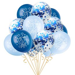 15pcs Set Happy Birthday Printed Latex Balloons For Baby Shower 2nd Party Decorations 1 2 Years Old Kids Favor Year