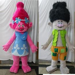 Costumes de personnages de bande dessinée de qualité en Ligne-ohlees image réelle film de bande dessinée Trolls Costume De Mascotte branche de pavot Défilé Qualité Clowns Activité de fête d'Halloween