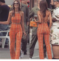 Laranja s calças de terno on-line-Europeu de Moda de Nova mulheres sexy orange xadrez impressão halter pescoço colheita top colete bustier e cintura alta perna larga calças compridas terno twinset