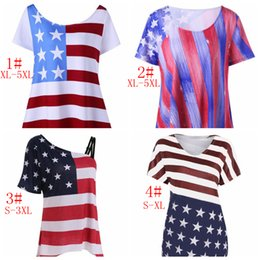 Wholesale wholesale american flag shirts - 4 Styles Women American Flag T-shirt Cotton Short Sleeve American Independence Day Printing Blouse Short Sleeve Irregular Tops EEA481 12PCS