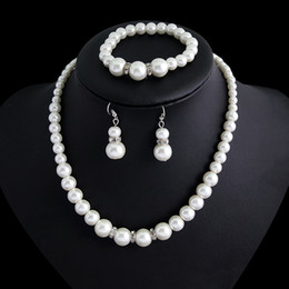 Wholesale Crystal Drops Decoration - 2018 Summer Bohemian Bridal Jewelry Set Necklace Bracelet Earring Pearls Wedding Accessory Cheap Beach Evening Prom Party Decoration