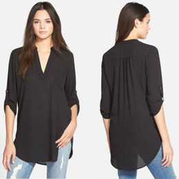 loose chemise Coupons - 5XL Sheer Chiffon Blouse Plus Size Women Clothing Long Sleeve Autumn Brand Shirt Casual Loose Oversized Top Chemise Femme