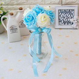 Helle Himmel-Blau-bunte Brauthochzeits-Blumenstrauß-Hochzeits-Dekoration-künstliche Brautjungfern-Blumen-Perlen bördelt die Braut, die Blumen CPA1560 hält von Fabrikanten