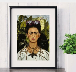 Wholesale Oil Canvas Abstract Portrait - Art Printed Canvas Painting For Room Frida Kahlo Portraiture Artist Self-portrait Decoration Wall Decor Picture Posters Wall Simulation Oil