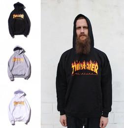Wholesale Street Fashion Hoodies - 2018 New European And American Mens Flame Hoodie Add Velvet Print Hoodie Fashion Hip Hop Street Style Hooded