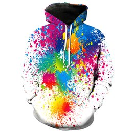 Argentina Cloudstyle Sudaderas con capucha 3D Hombres Colorido Spot de pintura 3D Imprimir Manga larga Sudadera con capucha de cuello redondo Tops de moda cheap 3d painting sweatshirts Suministro