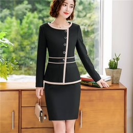 d62027399f41 New fashion women skirt suits set Business formal long sleeve Patchwork  blazer and skirt office ladies plus size work uniforms