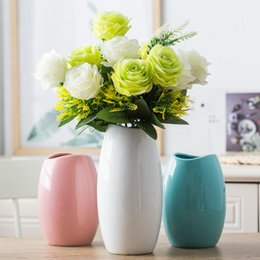 Wholesale wholesale white ceramic vase - Classic Crafts White Ceramic Flower Vase Creative Gift Household Decoration Vases S M L 3 PCS Lot