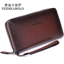 Wholesale Male Clutches - FEIDIKABOLO Luxury Male Leather Purse Men's Clutch Wallets Men Brown Dollar Price Handy Bags Business Carteras Mujer Wallets